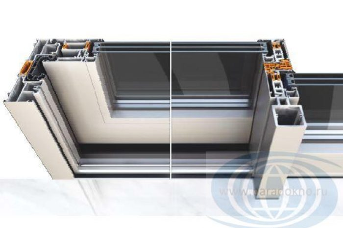 Сечение раздвижного окна Alumil